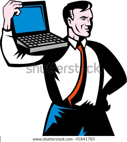 vector illustration of a Man carrying computer notebook laptop on his shoulders. - stock vector