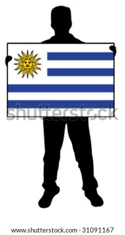 vector illustration of a man holding a flag of uruguay - stock vector