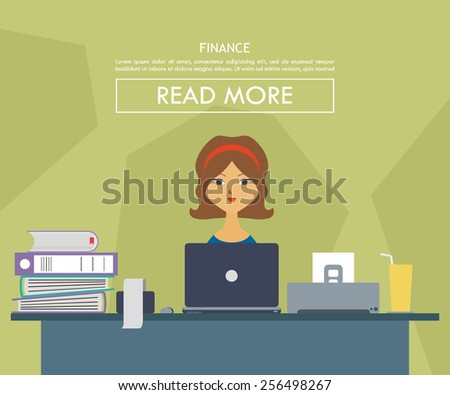 vector illustration of a man on his desk working as a finance manager - stock vector