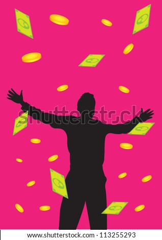 Vector illustration of a man standing with open arms with falling money. - stock vector