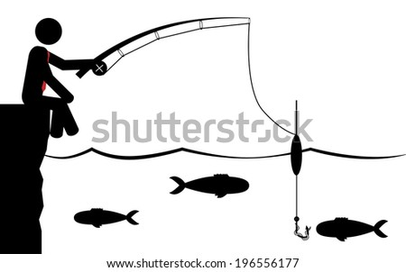 Vector / illustration of a man that is fishing in the water. - stock vector