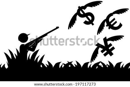 Vector / illustration of a man that is hunting flying money. - stock vector