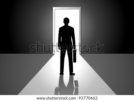 Vector illustration of a man walking into a bright side - stock vector