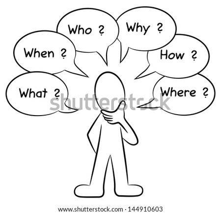 vector illustration of a man who asks questions - stock vector
