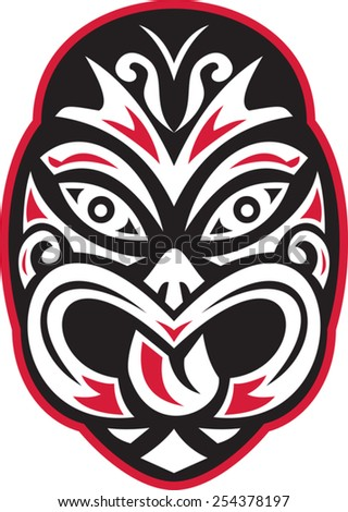 vector illustration of a maori tiki moko tattoo mask facing front on isolated white background. - stock vector