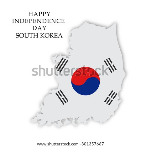 Vector illustration of a map fill with Flag color for South Korea Independence Day. - stock vector