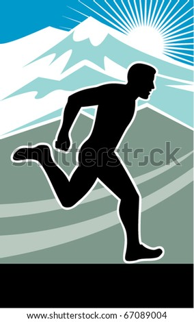 vector illustration of a Marathon runner silhouette side view with mountains and sunburst in background done in retro style - stock vector