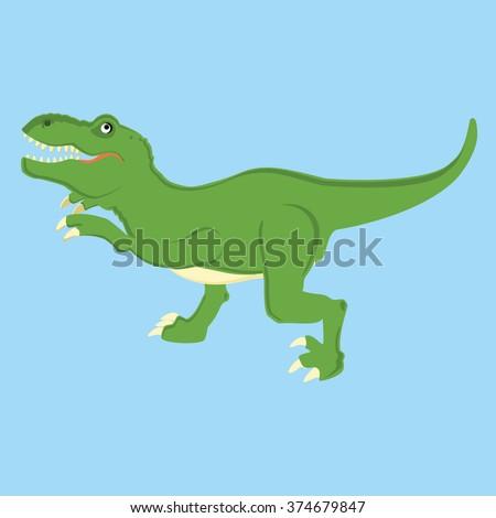 Vector illustration of a mean tyrannosaurs rex t rex dinosaur. Dino. Cute cartoon  green dinosaur on blue background - stock vector
