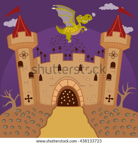 Vector illustration of a medieval castle defending from a flying dragon, for fairy tales or children books - stock vector