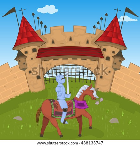 Vector illustration of a medieval castle with a knight, for fairy tales or children books - stock vector