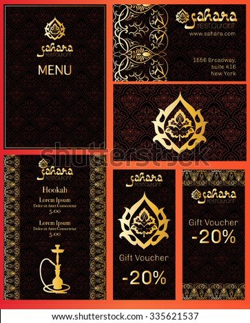Vector illustration of a menu for a restaurant or cafe Arabian oriental cuisine, business cards and vouchers. Hand-drawn gold border on a black background. Logos hookah and Arabic flower. - stock vector