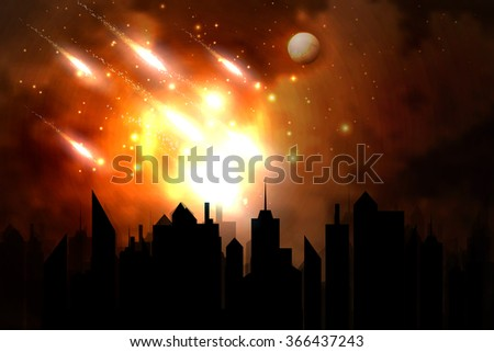 Vector illustration of a meteor over the city. - stock vector