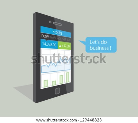 Vector illustration of a mobile phone with stock market business diagrams on the display, saying Let's do business ! - stock vector