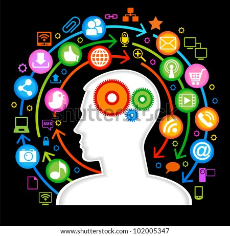 Vector illustration of a modern man in the global computer network. - stock vector