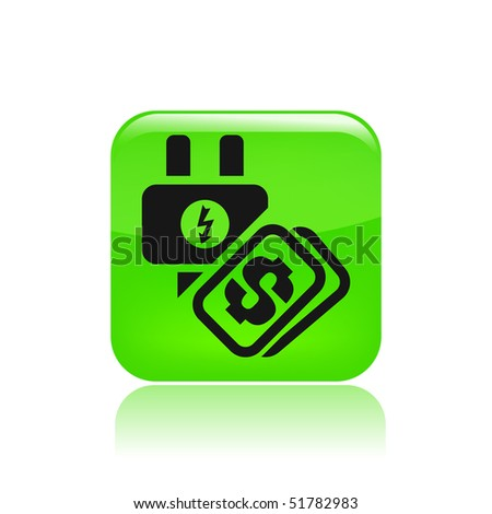 """Vector illustration of a """"money"""", """"pay"""" or """"buy"""" icon in modern style depicting a energy cost - stock vector"""