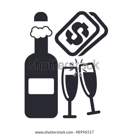 "Vector illustration of a ""money"", ""pay"" or ""buy"" icon in modern style depicting sparkling wine or champagne - stock vector"
