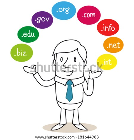 Vector illustration of a monochrome cartoon character: Businessman explaining and presenting colorful bubbles around him reading domain names. - stock vector