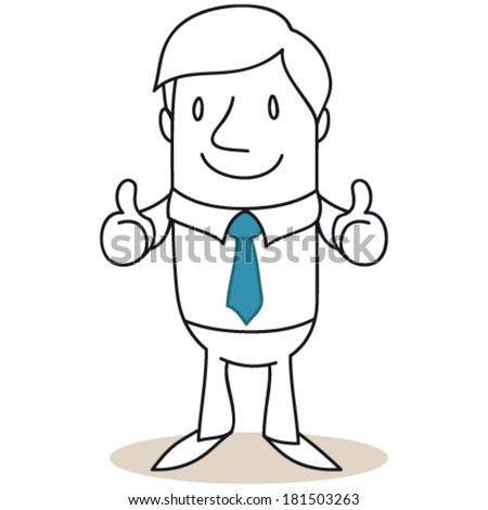 Vector illustration of a monochrome cartoon character: Businessman giving two thumbs up. - stock vector