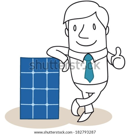 Vector illustration of a monochrome cartoon character: Businessman leaning against photovoltaic cell giving the thumbs up. - stock vector