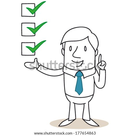 Vector illustration of a monochrome cartoon character: Businessman pointing and explaining with check boxes. - stock vector
