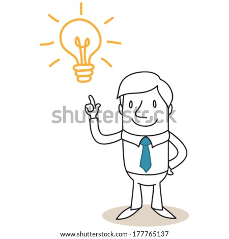 Vector illustration of a monochrome cartoon character: Businessman pointing at light bulb having a great idea. - stock vector