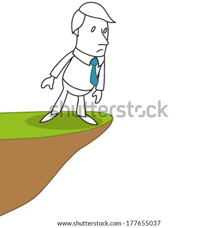 Vector illustration of a monochrome cartoon character: Businessman standing on the edge of a precipice carefully looking down. - stock vector