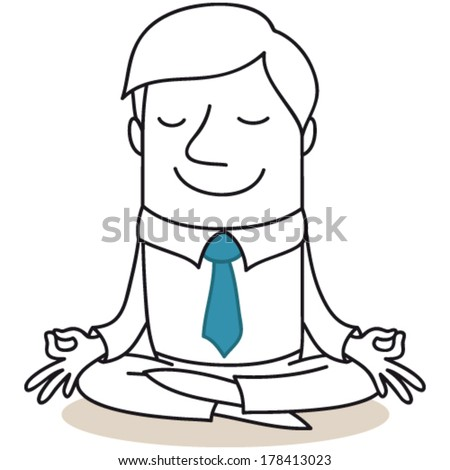 Vector illustration of a monochrome cartoon character: Calm businessman meditating. - stock vector
