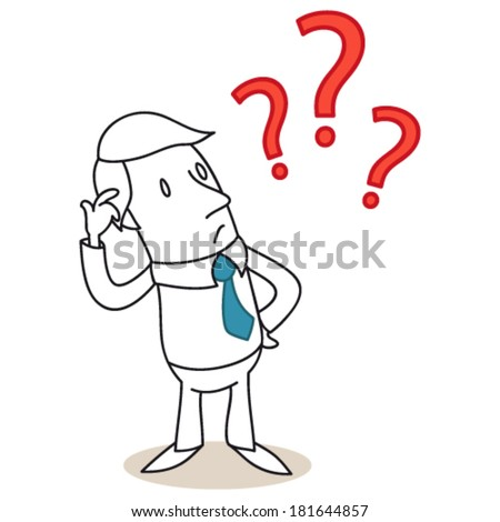 Vector illustration of a monochrome cartoon character: Clueless businessman scratching his head with three red question marks. - stock vector