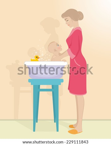 Vector illustration of a mother bathes the child - stock vector