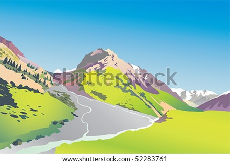Vector illustration of a mountain gorge - stock vector