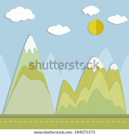 Vector illustration of a mountain landscape in a paper-cut style - stock vector