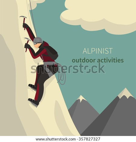 Vector illustration of a mountaineer climbing to the top of a slope - stock vector