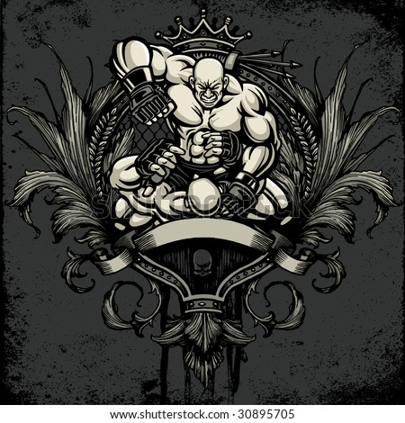 Vector illustration of a muscular cage fighter - ground and pound. Fighters battle over a detailed heraldry crest with ornamental scroll, blank banner, crown and flourish design elements. - stock vector