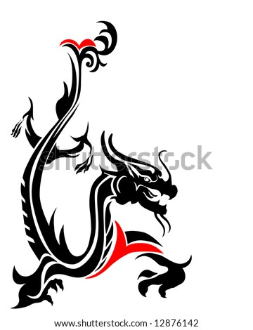 vector illustration of a mythical dragon - stock vector