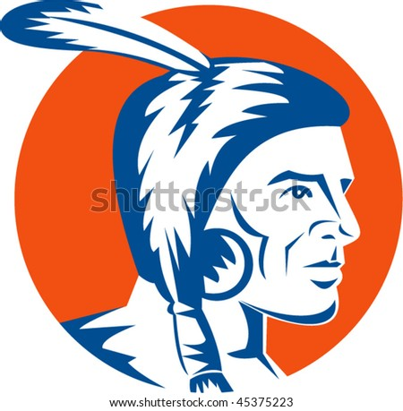 vector illustration of a native american indian looking to the side - stock vector