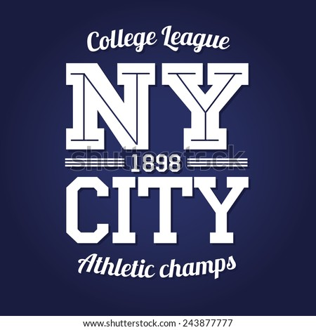 vector illustration of a New York college team league t-shirt design, graphic design, logo, label, badge - stock vector