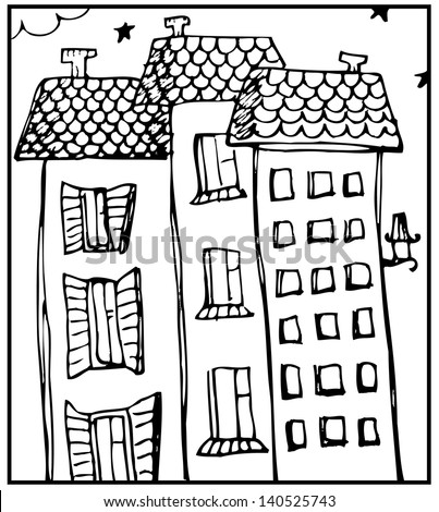 Vector illustration of a old town - stock vector