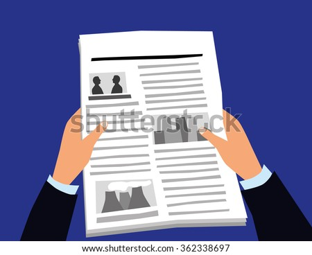 Vector illustration of a pair of hands holding a newspaper with pictures and text and a blank headline for copy space - stock vector