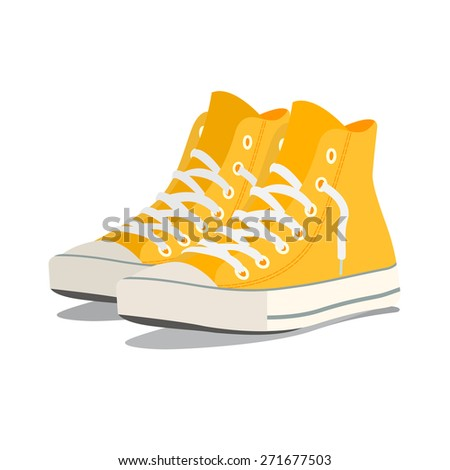Vector illustration of a pair of yellow sneakers - stock vector