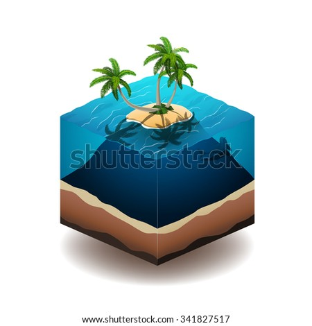 Vector illustration of a palm island in the deep ocean - stock vector