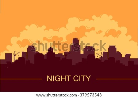 vector illustration of a panoramic image of an evening city sunset silhouette of houses - stock vector