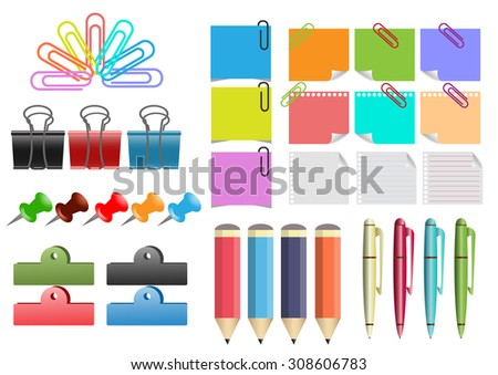Vector  illustration of a paper sheet , note papers , paperclip , pen and pencil collection. - stock vector