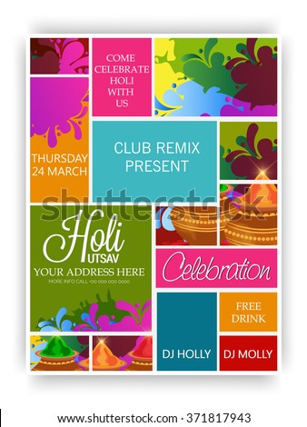 Vector illustration of a party banner for Indian Festival Holi celebration. - stock vector