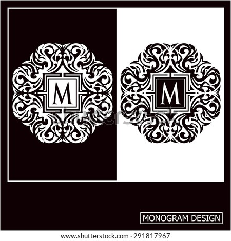 Vector illustration of a pattern monogram.  Luxury elegant frame ornament line logo design vector illustration. Good for Royal sign, Restaurant, Boutique, Cafe, Hotel, Heraldic, Jewelry  - stock vector