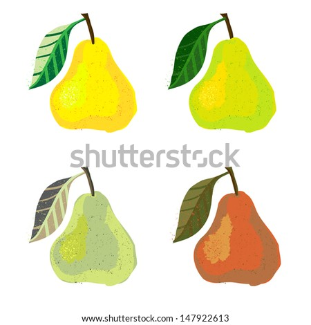 Vector illustration of a pear fruit. The drawing imitates dry brush watercolor technique. Set of four images for any package design like juice boxes, yogurt, jelly, candies, jam, caffeine free tea - stock vector