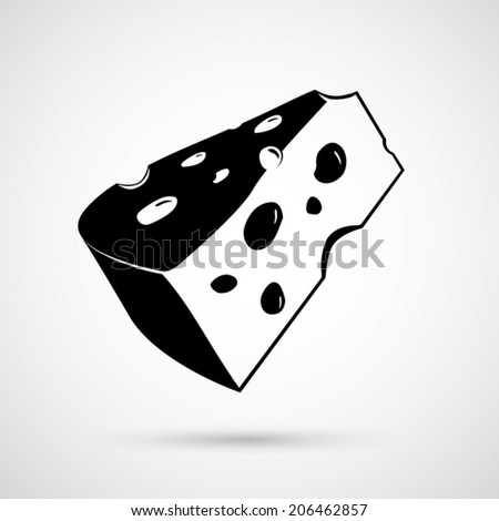 Vector illustration of a piece of cheese. Isolated on white back - stock vector