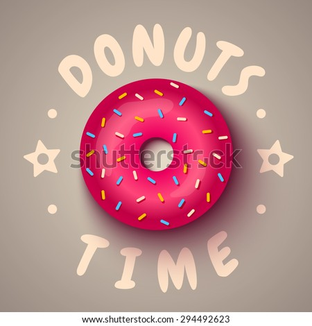 Vector illustration of a pink donut - stock vector