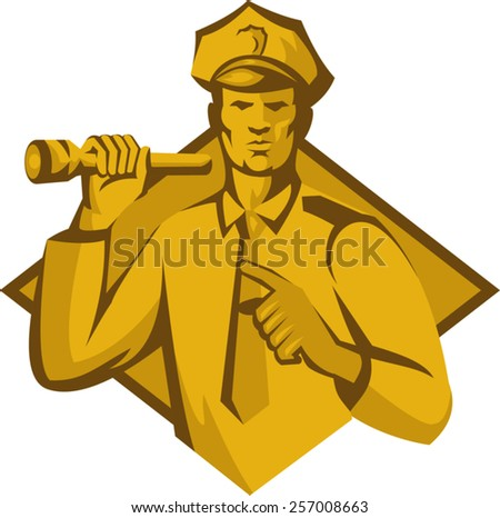 vector illustration of a policeman police officer holding a flashlight torch pointing facing front set inside diamond shape done in retro style. - stock vector