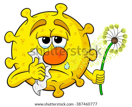 vector illustration of a pollen with hay fever - stock vector