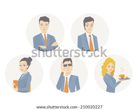 Vector illustration of a portrait of a business team of young business people on white background - stock vector